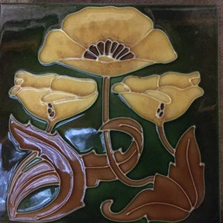 Yellow Poppy Stovax Tube lined tiles